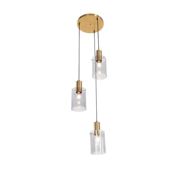 Lámpara-colgante-moderna-latón-cristal-ahumado-3-luces---VIDRA