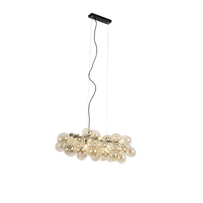Lámpara-colgante-Art-Deco-alargada-negra-cristal-ámbar-8-luces---UVAS
