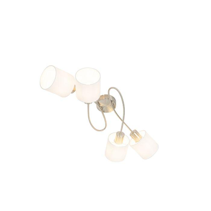 Lámpara-de-techo-moderna-acero-pantallas-blancas-4-luces---HETTA