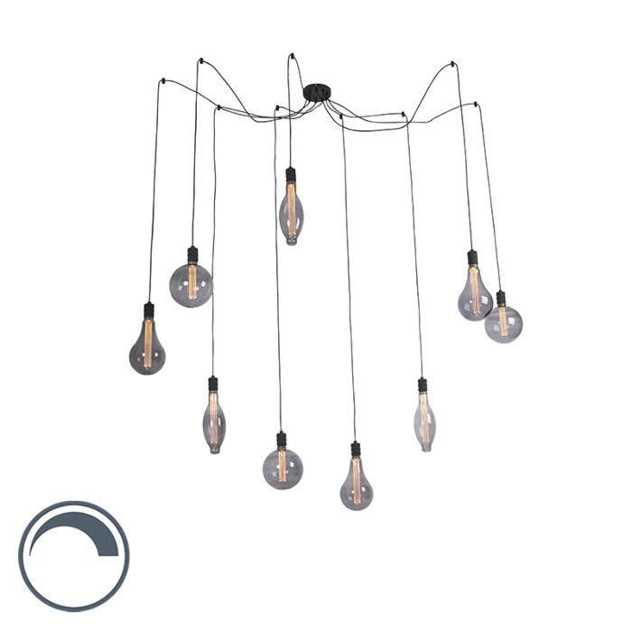 Lámpara-colgante-negra-9-bombillas-cristal-ahumado-regulables---CAVALUX