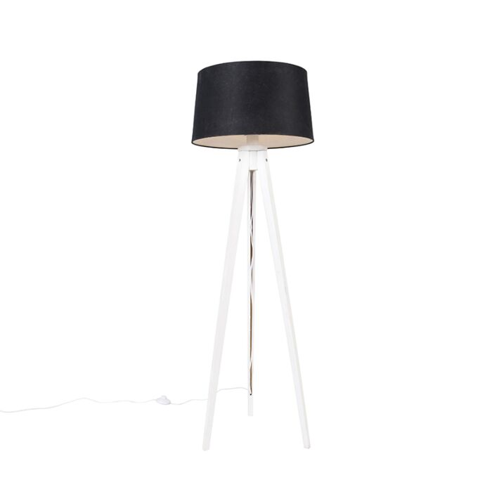 Trípode-moderno-blanco-pantalla-lino-negro-45-cm---TRIPOD-CLASSIC