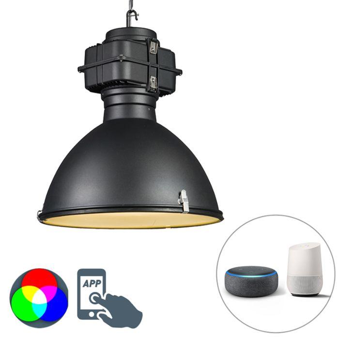 Smart-industriële-hanglamp-zwart-53-cm-incl.-A60-Wifi---Sicko