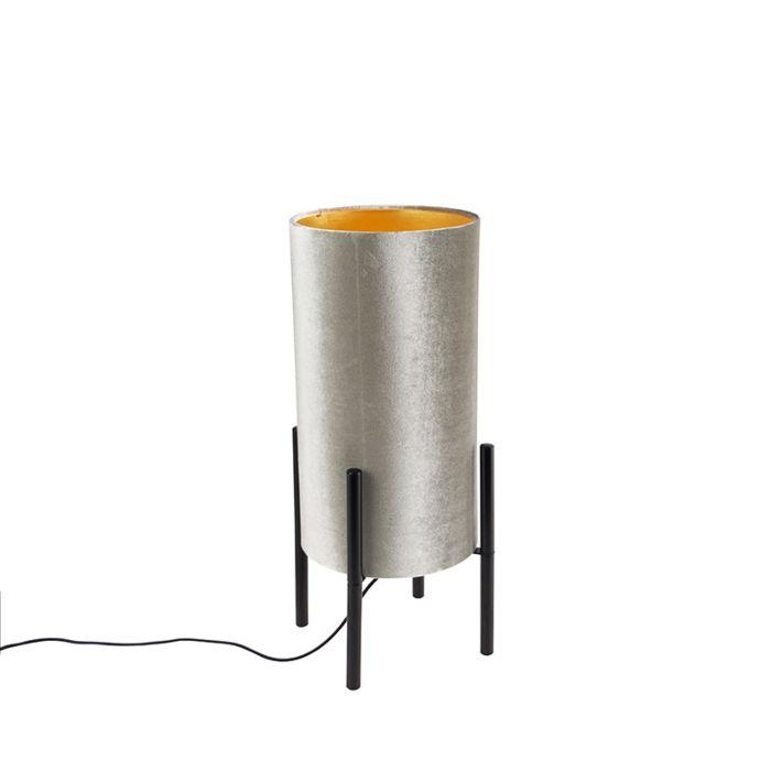 Lámpara-de-mesa-diseño-negro-pantalla-terciopelo-taupe/oro---RICH