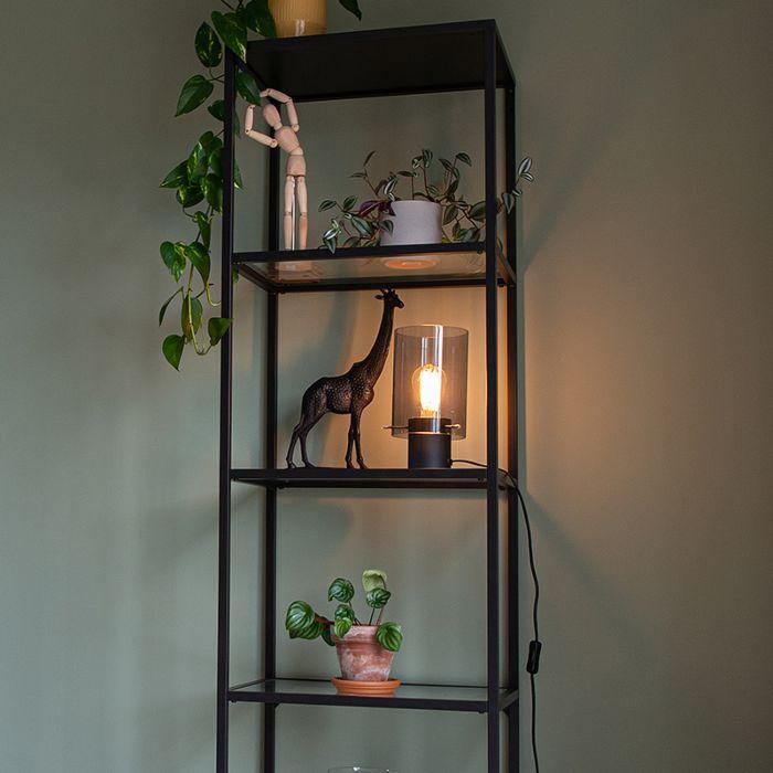 Lámpara-de-mesa-moderna-negra-cristal-ahumado---VIDRA