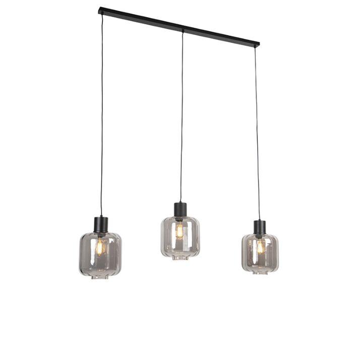 Lámpara-colgante-diseño-negra-cristal-ahumado-161,5cm-3-luces---QARA