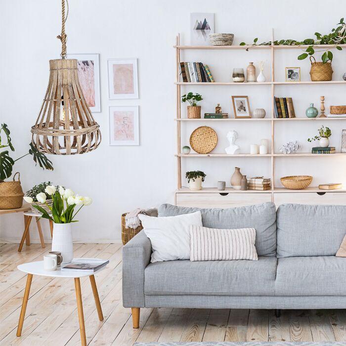 Lámpara-colgante-de-salón,-rústica,-madera-,-sofá,-zona-de-estar,-mesita-auxiliar-o-mesita-de-café