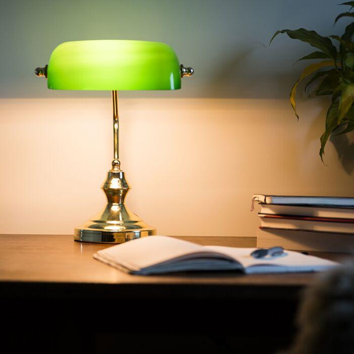 Lámpara-de-notario-clásica-latón/oro-verde--BANKER-