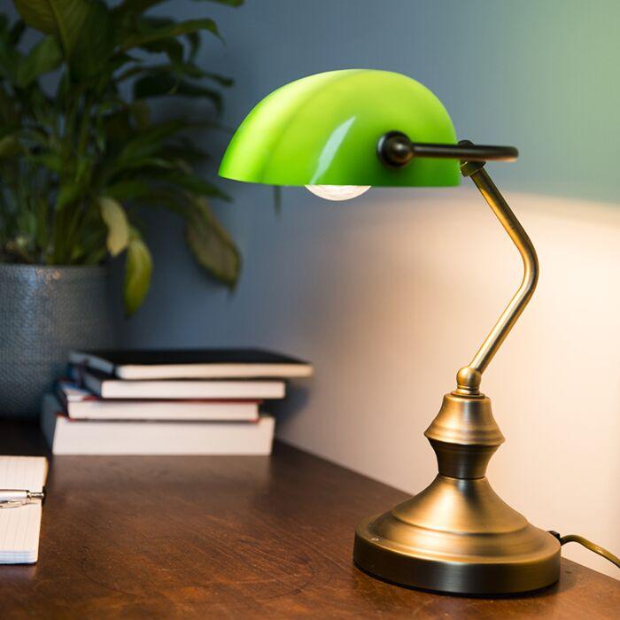 Lámpara-de-notario-clásica-bronce-verde--BANKER-