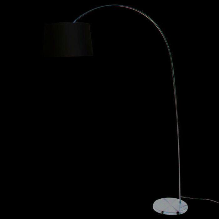 Lámpara-de-arco-EASY-acero-pantalla-blanca