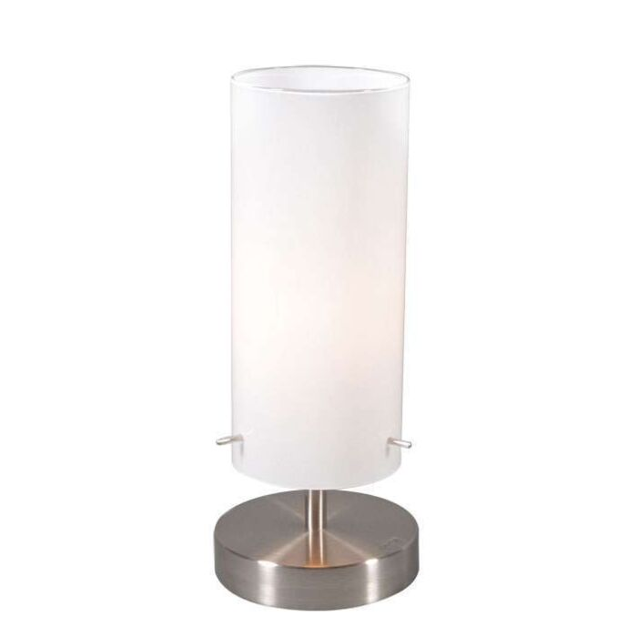 Lámpara-de-mesa-BOY-1-acero-y-cristal-blanco