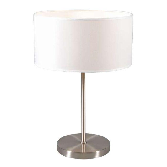 Lámpara-de-mesa-LUGAR-acero-pantalla-blanco