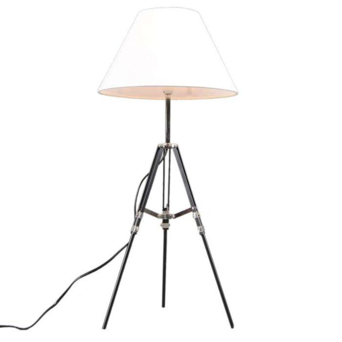 Lámpara-de-mesa-TRIPOD-negra-/pantalla-blanca
