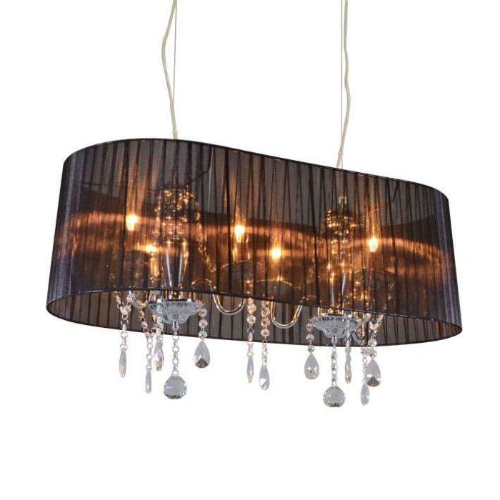 Lámpara-de-araña-cromo-pantalla-negra-80cm-6-luces---ANN-Kathrin