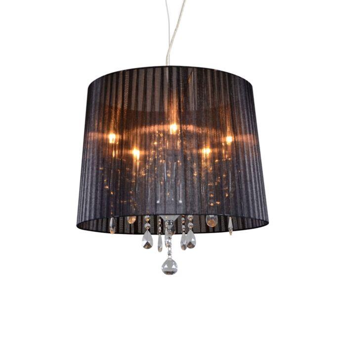 Lámpara-de-araña-clásica-cromada-pantalla-negra---ANN-KATHRIN-5