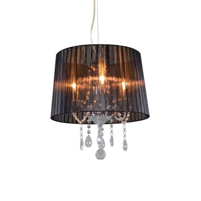 Lámpara-de-araña-clásica-cromada-pantalla-negra---ANN-KATHRIN-3
