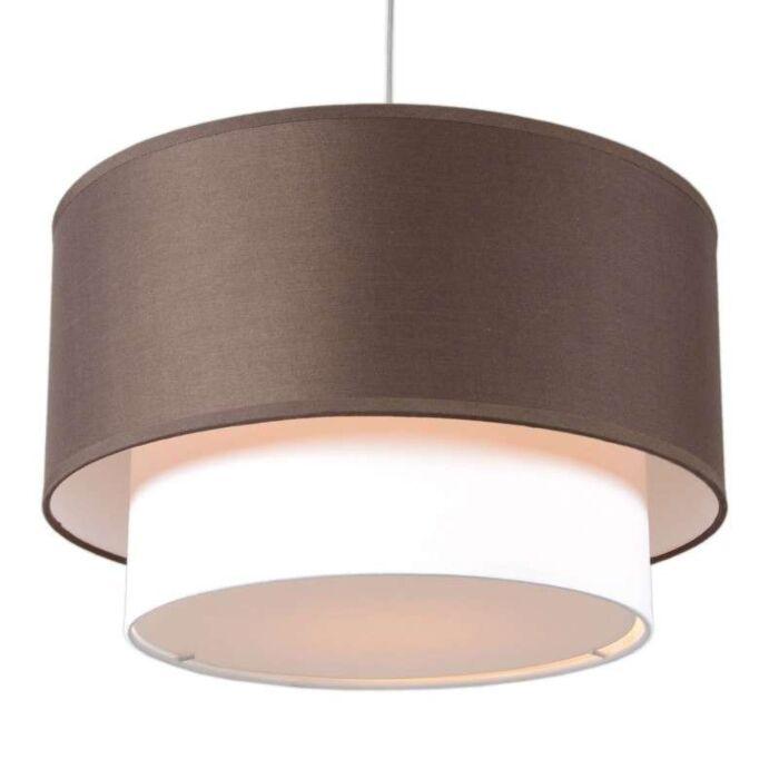Lámpara-colgante-TAMBURO-Due-40cm-marrón-blanco