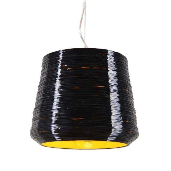 Lámpara-colgante-COMO-38-negra/amarilla