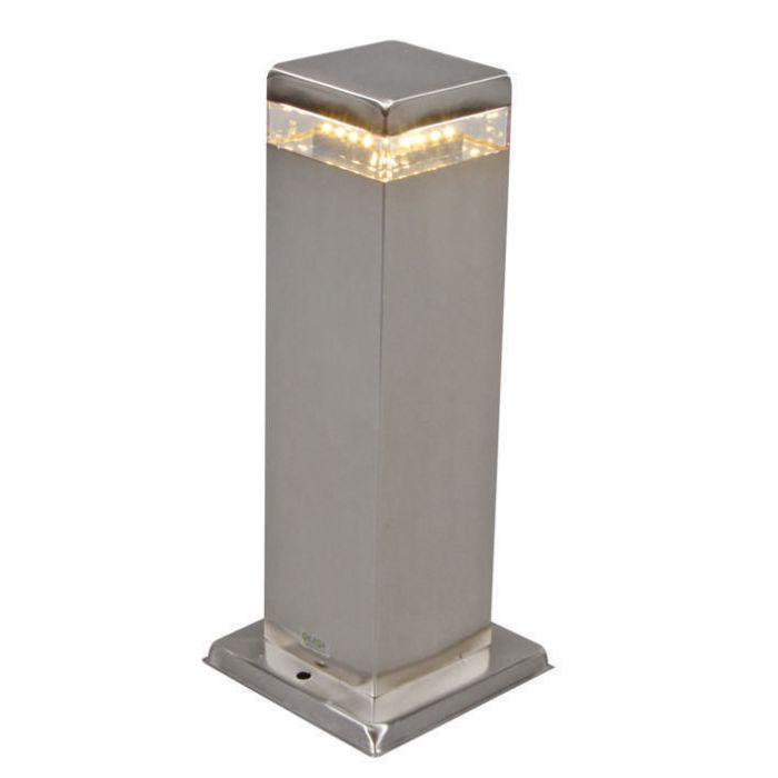 Baliza-SATIN-cuadrada-30cm-con-LED-acero