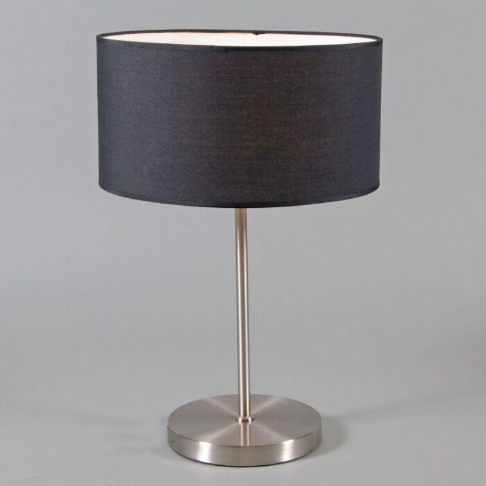 Lámpara-de-mesa-LUGAR-acero-pantalla-negra