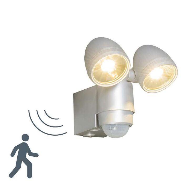 Lámpara-de-exterior-VAP-Duo-plata-con-detector-de-movimiento