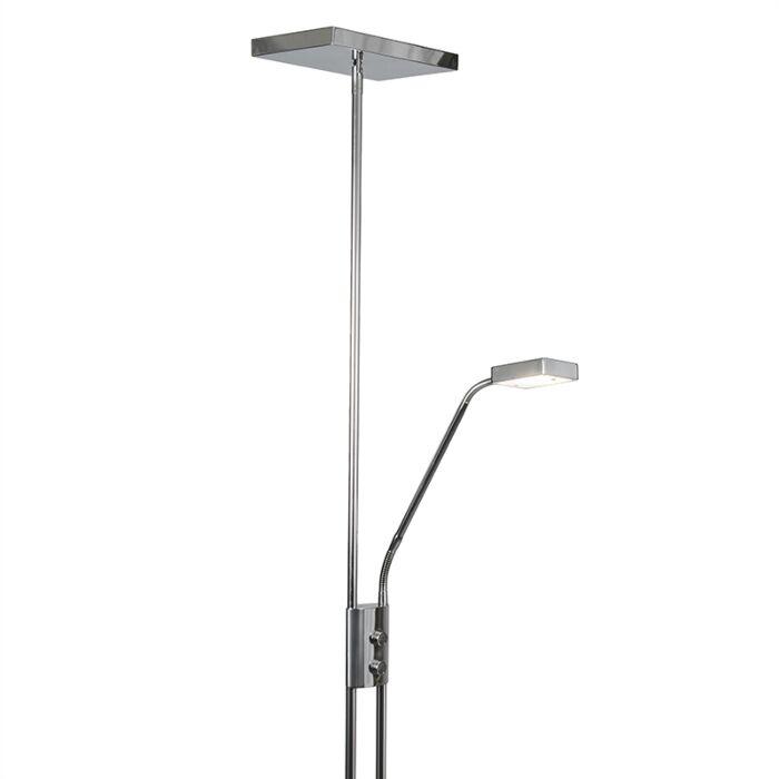 Lámpara-de-pie-moderna-con-LED-y-dimmer-con-lámpara-de-lectura---Uplighter-Jazzy