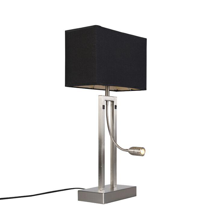 Lámpara-de-mesa-BERGAMO-acero-pantalla-negra