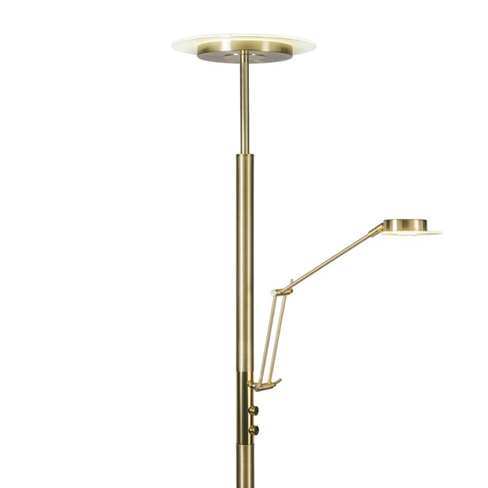 Lámpara-de-pie-LUXUS-con-brazo-de-lectura-y-regulador-dorada