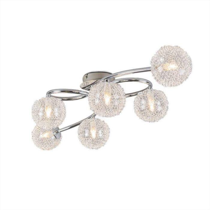 Plafón-Art-Déco-cromo-y-cristal-6-luces---SFERA-Wire