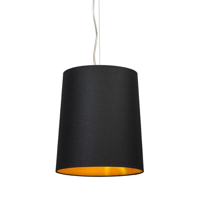 Lámpara-colgante-CAPPO-1-con-pantalla-negra-y-dorada-por-dentro