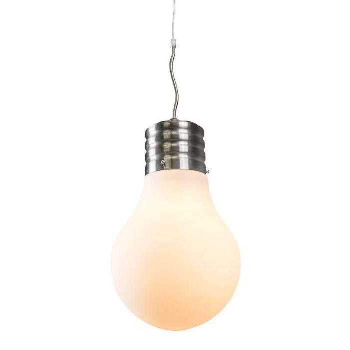 Lámpara-colgante-BULB-acero-cristal-blanco-opalino