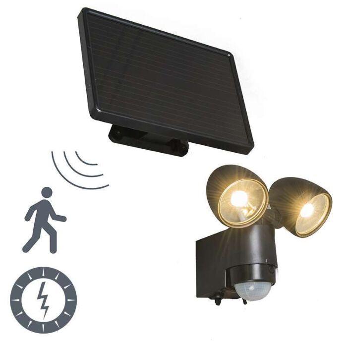 Lámpara-de-exterior-VAP-Duo-negra-con-detección-de-movimiento-y-panel-solar