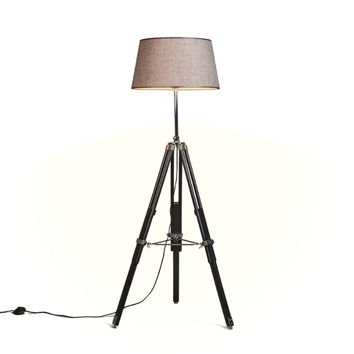 Lámpara-de-pie-TRIPOD-negra-con-pantalla