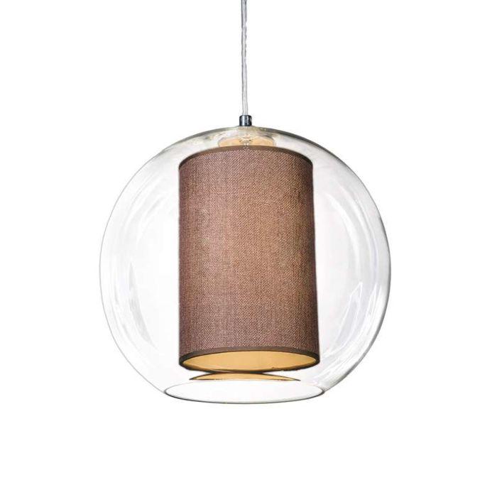 Lámpara-colgante-GLOBE-30-con-pantalla-marrón