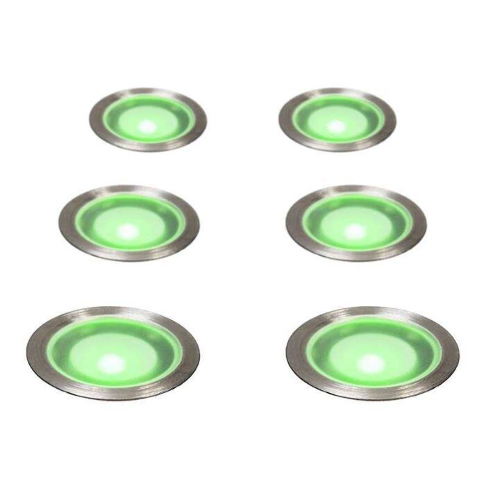 Juego-de-6-focos-empotrados-GUARD-IP67-verde