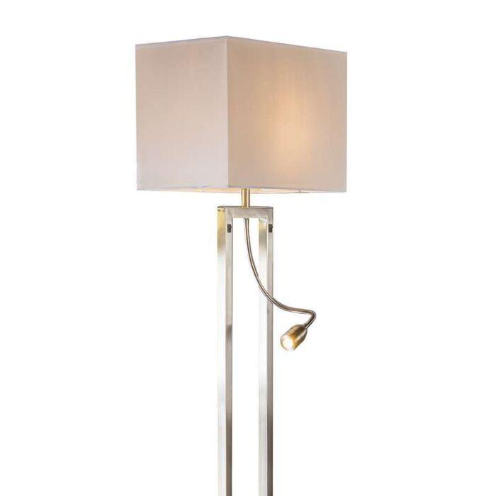Lámpara-de-pie-BERGAMO-acero-pantalla-crema/blanco