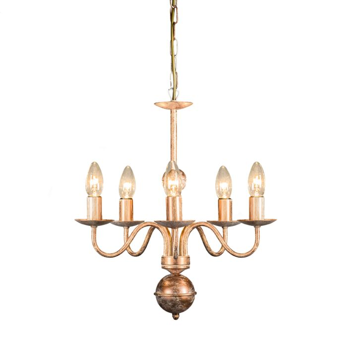 Lámpara-de-araña-ROMANI-5-cobre-envejecido