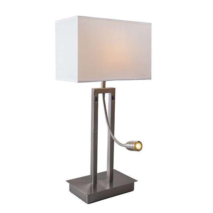 Lámpara-de-mesa-BERGAMO-acero-pantalla-blanco