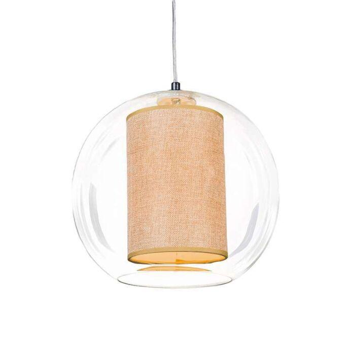 Lámpara-colgante-GLOBE-30-con-pantalla-beige