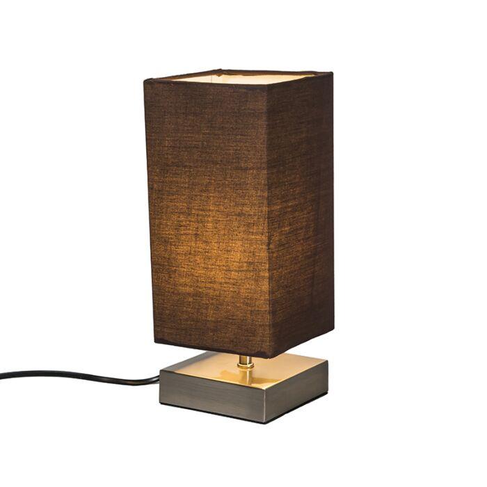 Lámpara-de-mesa-MILO-cuadrada-marrón