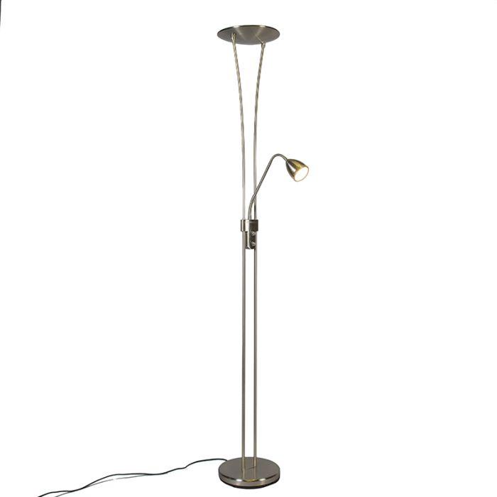 Lámpara-de-pie-JAZZ-2-con-brazo-de-lectura-LED-acero