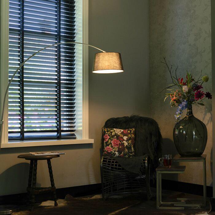 Lámpara-moderna-de-arco-acero-pantalla-negra---ARC-Basic