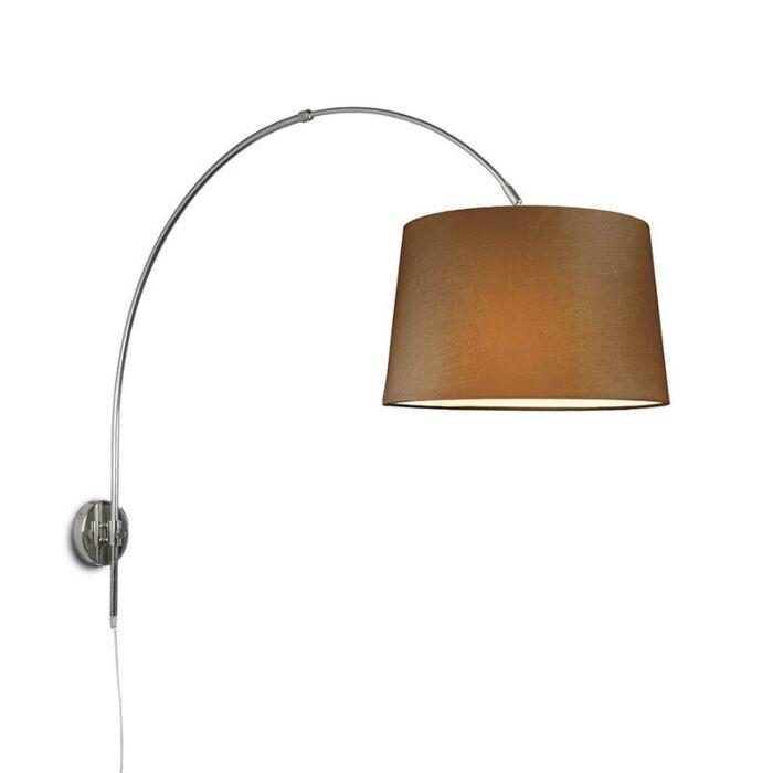 Aplique-arco-cromo-con-pantalla-40cm-marrón