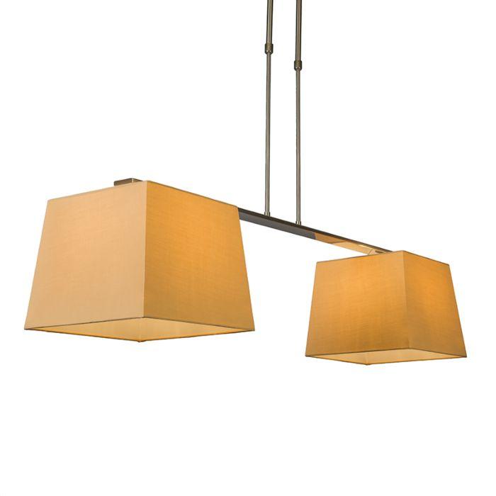 Lámpara-colgante-COMBI-Delux-2-pantallas-piramidales-30cm-beige