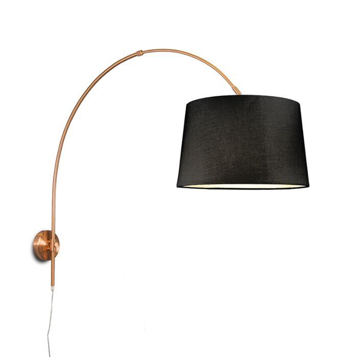 Aplique-arco-cobre-mate-con-pantalla-40cm-negro