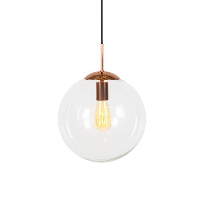 Lámpara-colgante-art-deco-cobre-cristal-transparente-30-cm---BALL-30