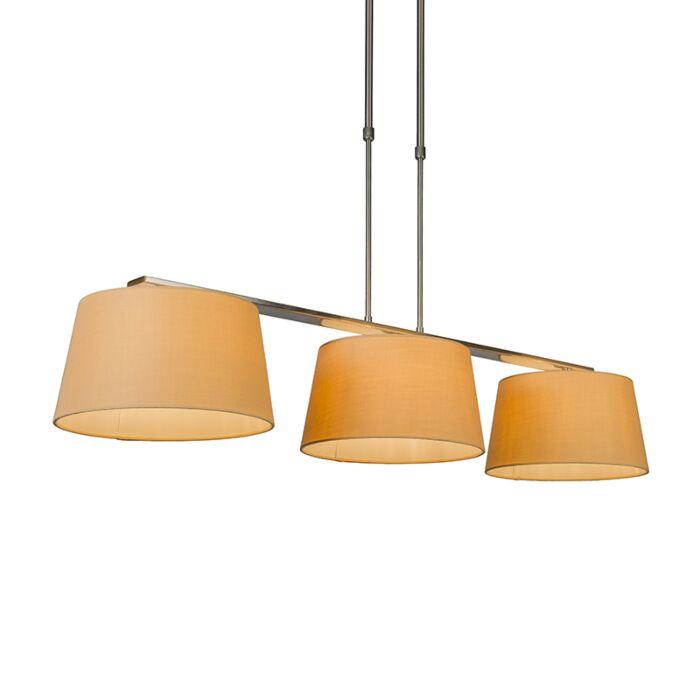 Lámpara-colgante-COMBI-Delux-3-pantallas-cónicas-30cm-beige
