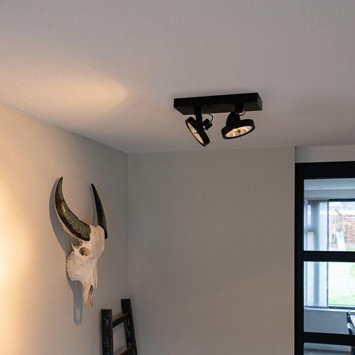 Plafón-diseño-negro-orientable-2-luces-LED---GO