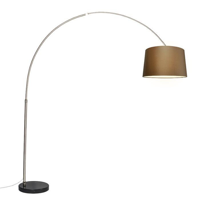 Lámpara-de-arco-de-acero-tela-marrón-45-cm---XXL