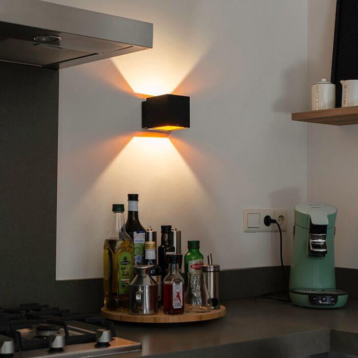 Aplique-diseño-negro/oro-LED---CAJA
