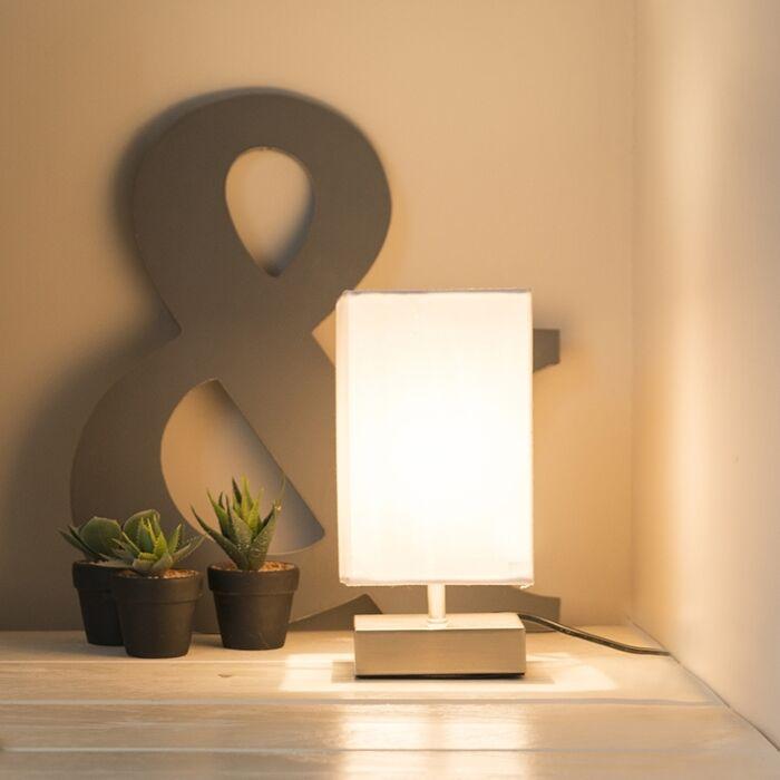 Lámpara-de-mesa-moderna-blanca-acero---MILO